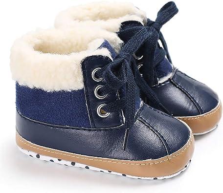 Fnnetiana Newborn Toddler Winter Warm Non-Slip Soft Sole Snow Boots Infant Baby Prewalker Crib Shoes