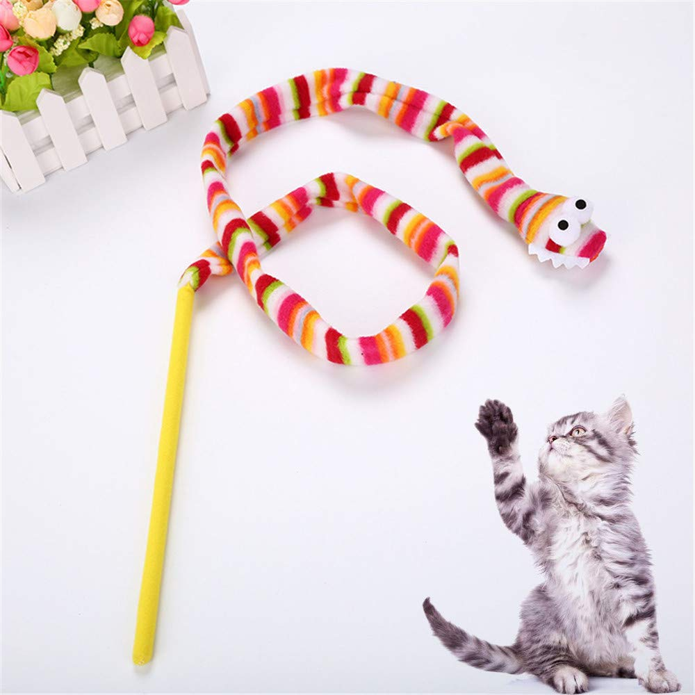 Glumes Rainbow Snake Teaser Cat Toy, Pet Wand + Plush Toy Snake Streamer, Guaranteed to Drive Your Cat Wild, Interactive Catcher Teaser for Kitten Or Cat Having Fun Exerciser Playing (multicolor)