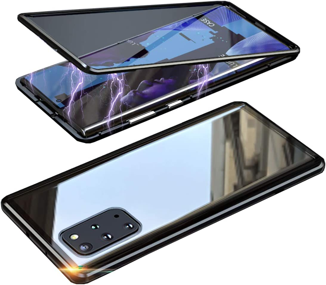 Rouge Coque pour Samsung Galaxy S20 Ultra 5G Adsorption Magn/étique Housse,Transparent Verre tremp/é arri/ère Etui Housse de Protection de Cam/éra Int/égr/é Antichoc M/étal Cadre Flip Cover Case