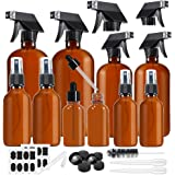 Glass Spray Bottle, MASSUGAR Amber Glass Spray Bottles Set Refillable Container for Essential Oil Bottle Kits or Cleaning Agent Aromatherapy - 16OZ x 2, 8OZ x 2, 4OZ x 2, 2OZ x 2, 1OZ x 2