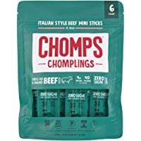 CHOMPS MINI Grass Fed Beef Jerky Meat Snack Sticks, Keto Snack, Paleo, Whole30 Approved, Low Carb, Protein, Gluten Free, Sugar Free, Nitrate Free, 40 Calories 0.5 Oz Sticks, Italian Beef 6 Pack Bag