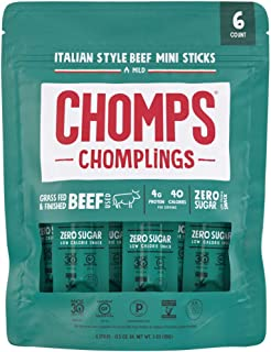 product image for CHOMPS MINI Grass Fed Beef Jerky Meat Snack Sticks, Keto Snack, Paleo, Whole30 Approved, Low Carb, Protein, Gluten Free, Sugar Free, Nitrate Free, 40 Calories 0.5 Oz Sticks, Italian Beef 6 Pack Bag
