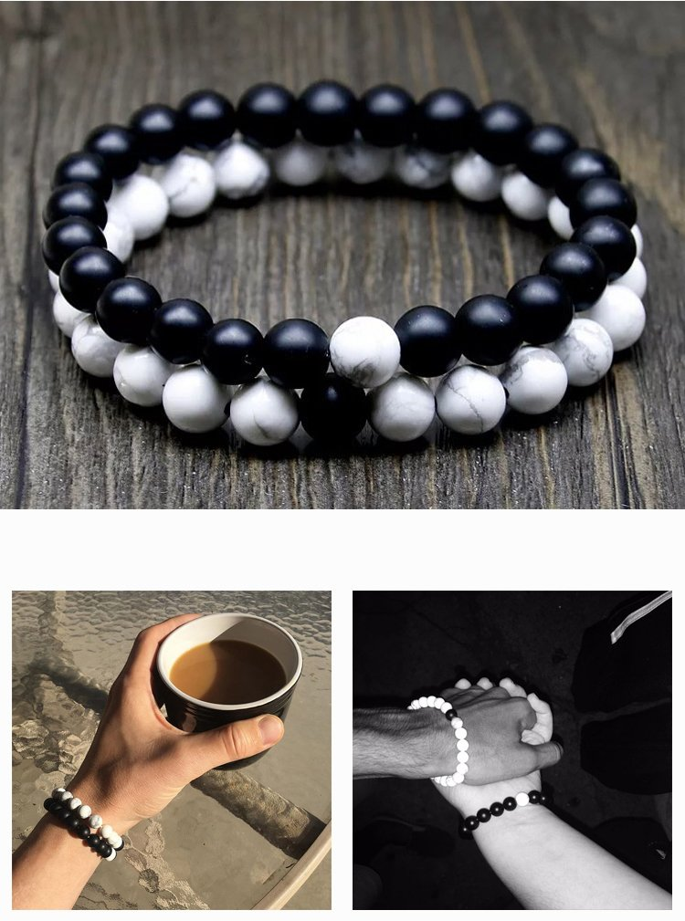 J.Fée Relationship Couples Bracelet His-and-Hers Matte Black Onyx White Howlite Distance Bracelet 7in&8in (7 inch White&Black) by J.Fée (Image #4)