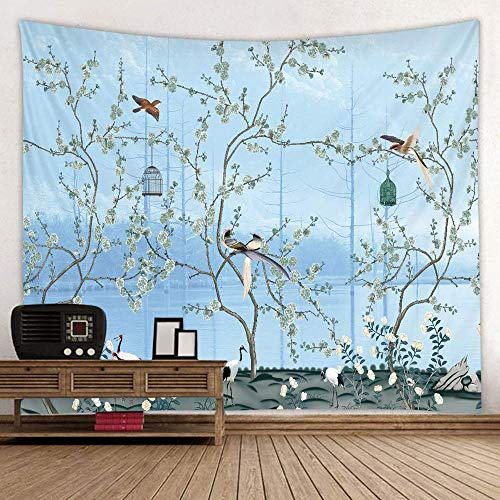 Flower Tree Decor Tapestries, Spring Asian Plant Tree Bird Decor Wall Hanging Tapestry Room Home Decoration Japanese Cherry Blossom Tree Wall Tapestry Blue for Bedroom Living College Dorm,52x60 Inch L