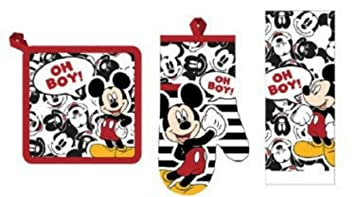 Disney Mickey Mouse U0026quot;Oh Boy! 3 Piece Kitchen Towel Set