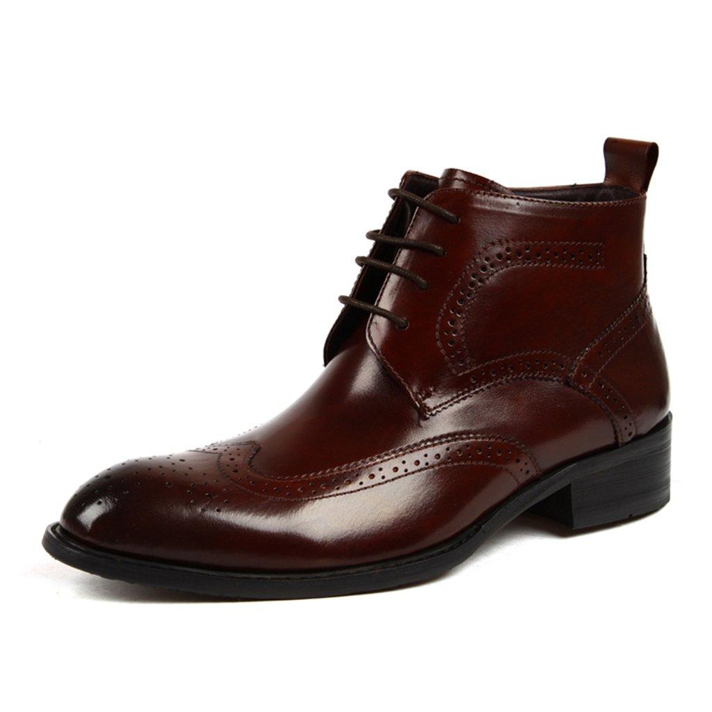 Herren Herren Herren Lederschuhe Herren Lederschuhe High-Top-Schuhe Business-Short Martin Stiefel wies Spitze britischen Stil Herrenschuhe (Farbe   rot-braun, größe   EU 41 UK7) b23fca