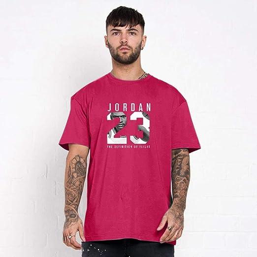 Camiseta Jordan 23 de Manga Corta para Correr, de algodón Puro, para Hombre, Jersey, Movimiento Suelto y Transpirable, Media Manga, Top Casual de Puro algodón,C,XS: Amazon.es: Hogar
