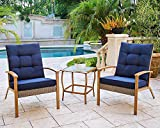 Wood Glass Coffee Table Sets Solaura 3-Piece Outdoor Furniture Grey Wicker Soft Bistro Set Wood-Grain Arm Rest with Nautical Navy Blue Thickened Cushions & Glass Coffee Table