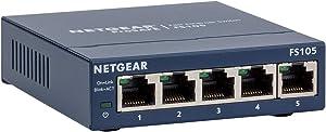 NETGEAR 5-Port Fast Ethernet 10/100 Unmanaged Switch (FS105) Desktop and ProSAFE Lifetime Protection