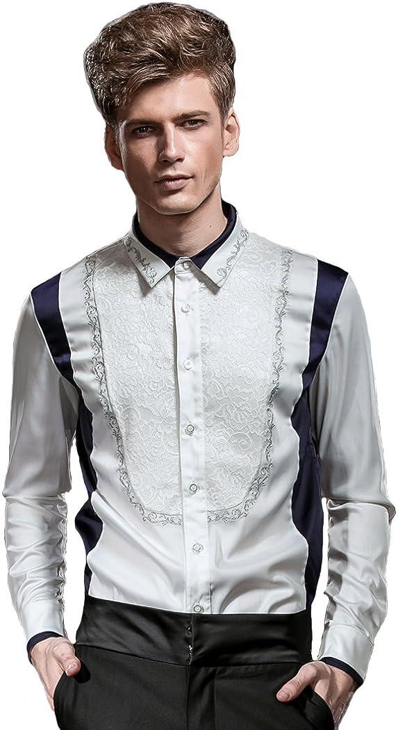 FANZHUAN Camisa Blanca Entallada Camisa Hombre Diseño Camisa Estampada Hombre Camisas Elegantes Hombre: Amazon.es: Ropa y accesorios