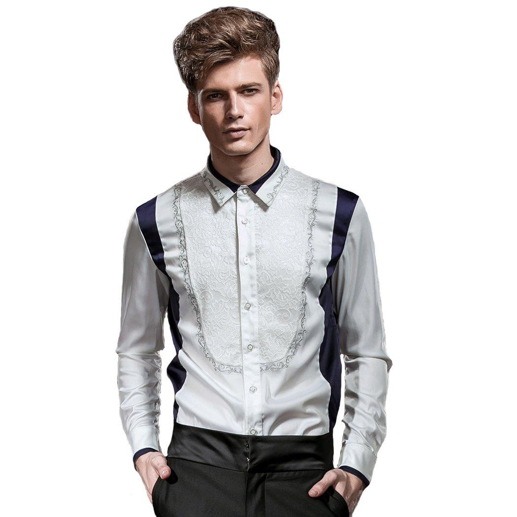 Fanzhuan Men Fashion Long Sleeve Dress Shirt Embroidery Slim Fit Non