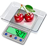 Intsun 0.001oz/0.1g 6000g High Precision Digital Scale Kitchen Food Scale with LCD Display, Tare, Mode and PCS Features(Sliver, 2 Pcs Batteries Included)