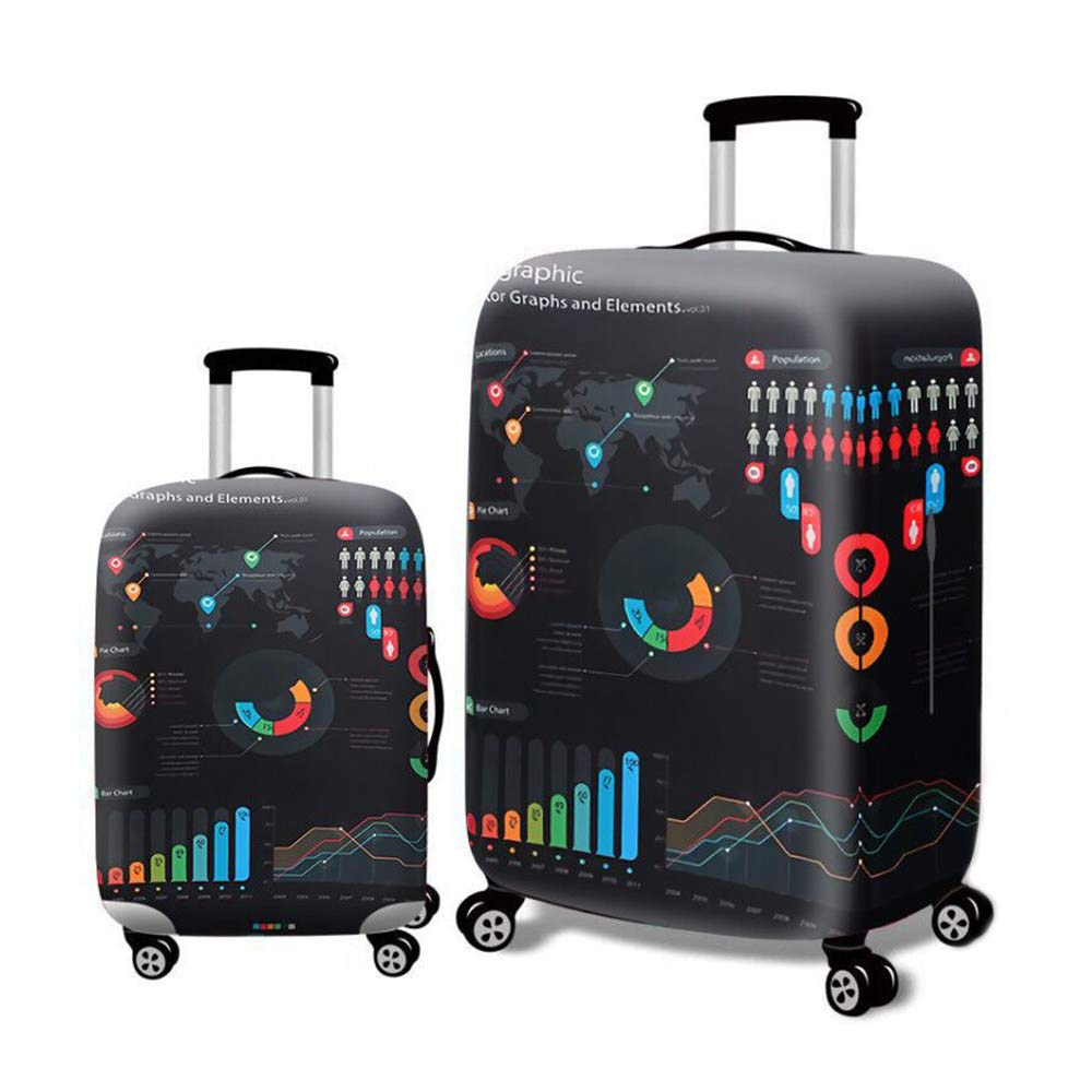 Dustproof Suitcase Protective Cover Elastic Black,A-L Luggage cover protector set Trolley Case Protective Cover Spandex Polyester Travel Luggage Suitcase Cover Protective Cover Water Resistant