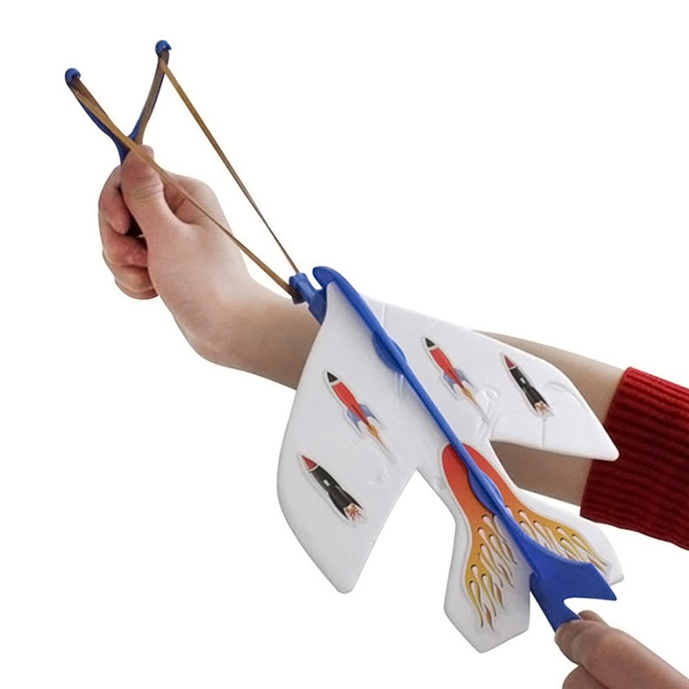 Slingshot LED Light Flare Catapult Airplane Launcher Flashing Rubber Band Sling Glider Plane Kit Outdoor Toy for Kid
