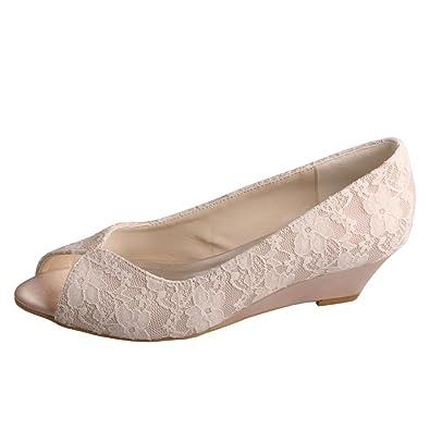 Wedopus MW407 Womenu0027s Peep Toe Wedge Heel Lace And Satin Bridal Wedding  Shoes Size 5 Nude
