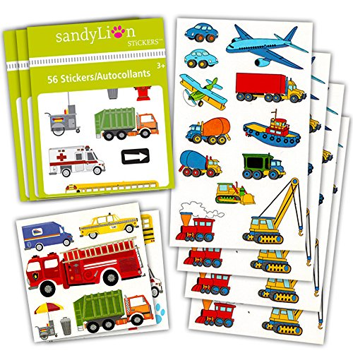 Truck Decal Sheet (Cars and Trucks Stickers Party Supplies Pack Toddler -- Over 230 Stickers (Cars, Fire Trucks, Construction, Buses and More!))