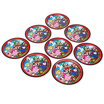 American Greetings Super Mario Brothers Party Supplies, Large Dinner Paper Plates (8-Count): Toys & Games