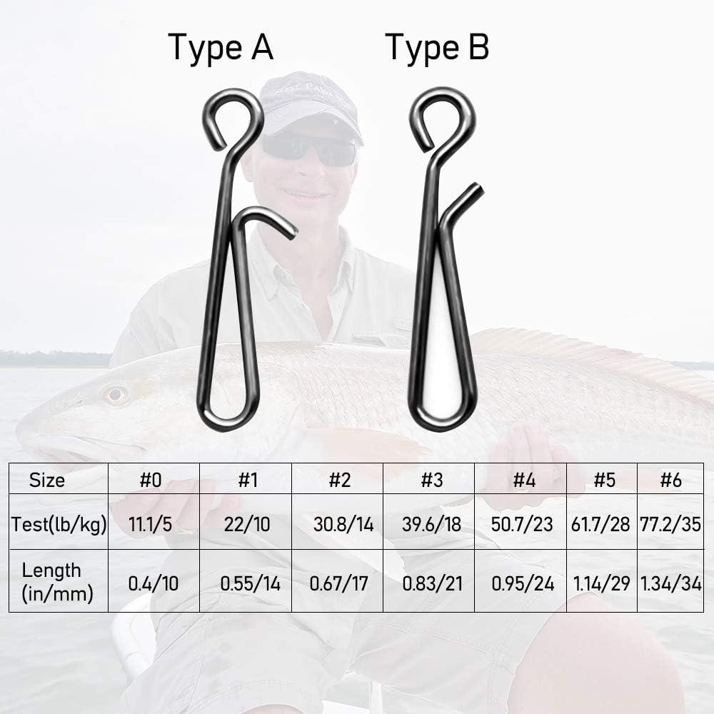 8,6 a 33,5 kg Alwonder Lote de 50 Pinzas de Pesca de Alta Resistencia de Acero Inoxidable Conector de Velocidad de Gancho de Enlace se/ñuelo para Pesca de Carpa tama/ño 0-6
