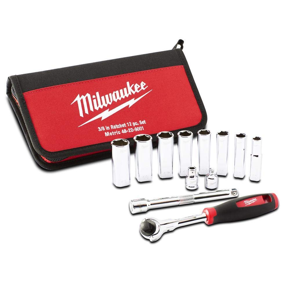 Red Milwaukee 48229001 Tradesman 3//8in Ratchet Set 12 Piece