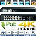 USG Full Gigabit Managed PoE++ Ethernet Network Switch : Designed For Ultra 4K UHD 8MP+ IP CCTV Camera Systems : 8x Gigabit PoE + 4x RJ45/2x Fiber Uplink + 1x Console Ports : VLAN, 60W, 24Gbps