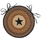 Black Star Braided Jute Western Chair Pad - Western Furniture