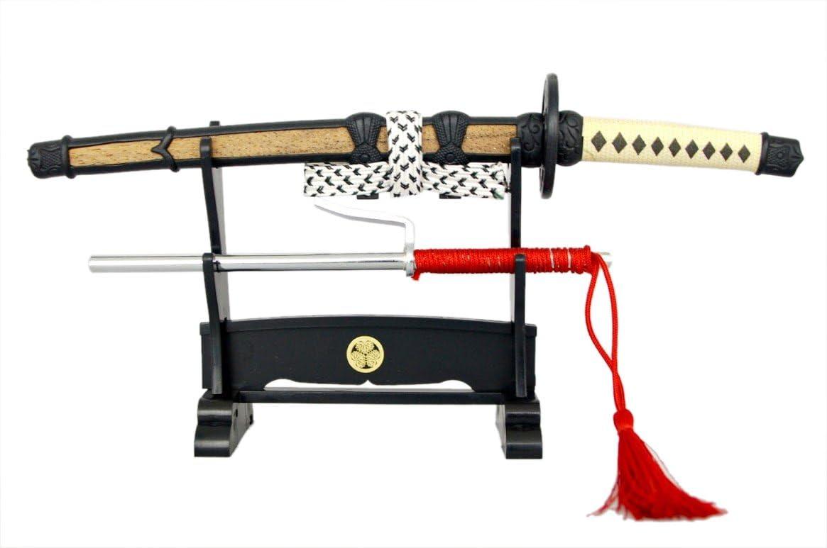White Japanese Anime Ninja Letter Opener Sword with Stand Samurai Katana