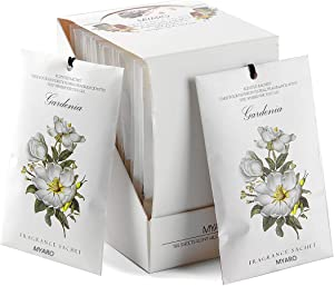 MYARO 12 Packs Gardenia Scented Sachets for Drawer and Closet, Long-Lasting Home Fragrance Sachet for Lover