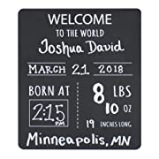 """Baby Announcement Chalkboard Sign. """"Welcome to the World"""" Photo Prop Board, Black w/white print and round corners - 12"""" x 10"""" rectangle"""