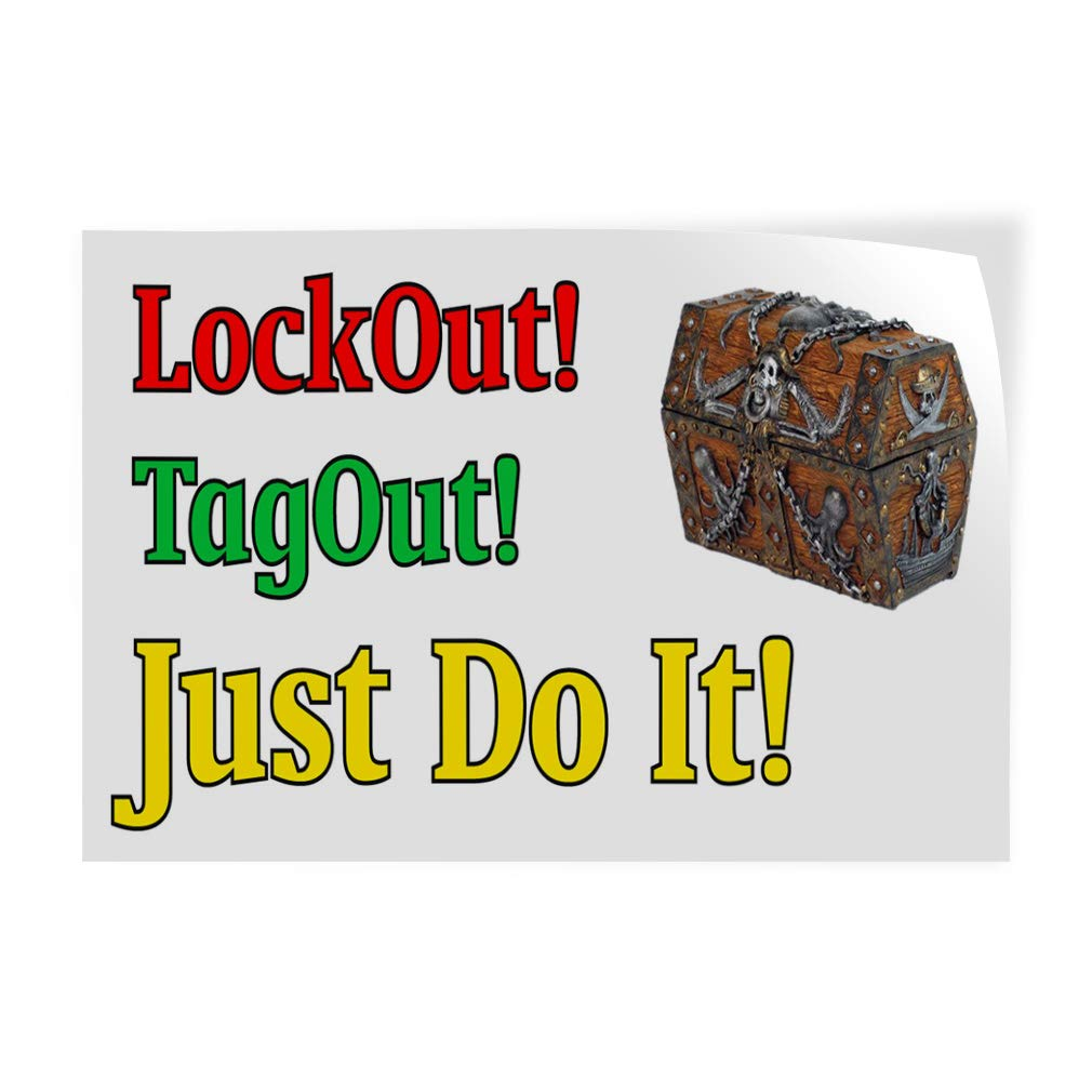 Just Do It Tag Out Decal Sticker Multiple Sizes Lockout 24inx16in, Business Business Lockout Tag Out Just Do It Outdoor Store Sign White