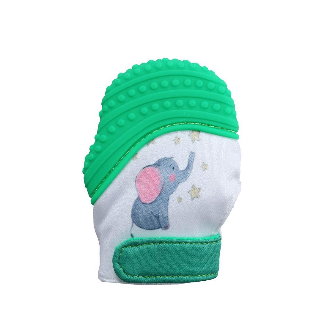 VIVO SUN Moufle de Dentition Sans BPA pour Bébé 3 à 12 Mois Gant Jouet en Silicone Qualité Alimentaire - Eléphant Rose