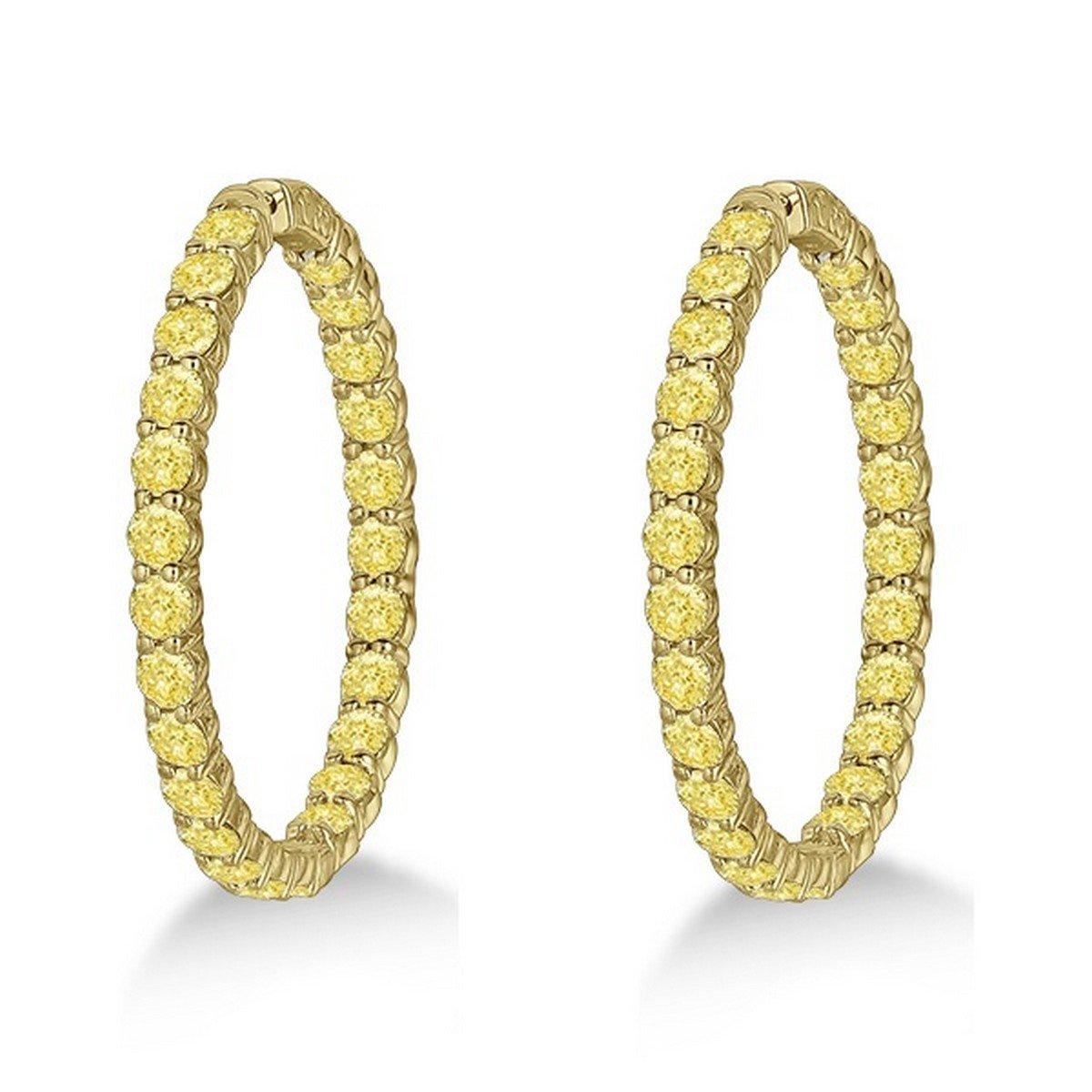 14k Gold Fancy Yellow Canary Diamond Hoop Earrings 10.00ct