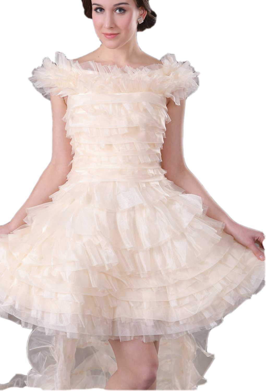 Albizia Women's Off the Shoulder Ruffle Hi-lo Wedding Dresses by ALBIZIA