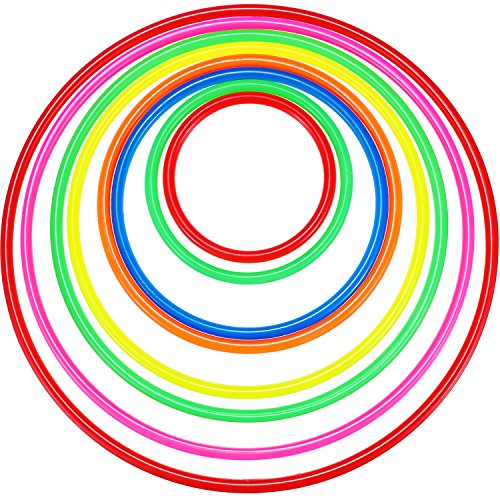 TecUnite 8 Pieces Plastic Multicolor Toss Rings for Carnival, Garden, Backyard, Outdoor Games or Dream Catcher Making (Big Game Catcher)