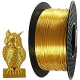Silk Gold PLA Filament 1.75mm 3D Printer Filament 1 KG 2.2 LBS Spool 3D Printing Material CC3D Shine Silky Shiny…