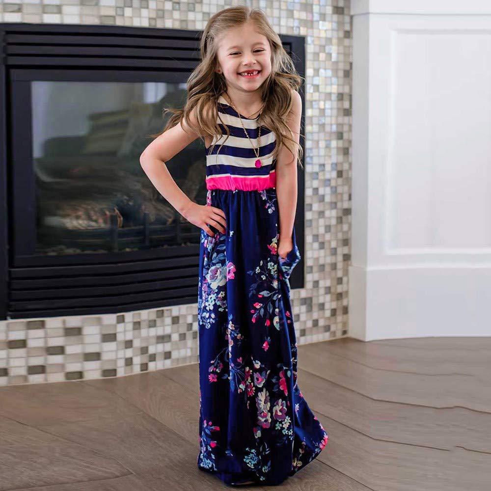 UOMOGO/® Vestito Lungo Bambina Elegante Principessa Abito Cottone Garza Abiti da Sera Matrimonio Cerimonia 2-8 Anni