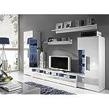 JUSThome ROMA Wohnwand Anbauwand Schrankwand Farbe: Weiß Matt / Weiß Hochglanz