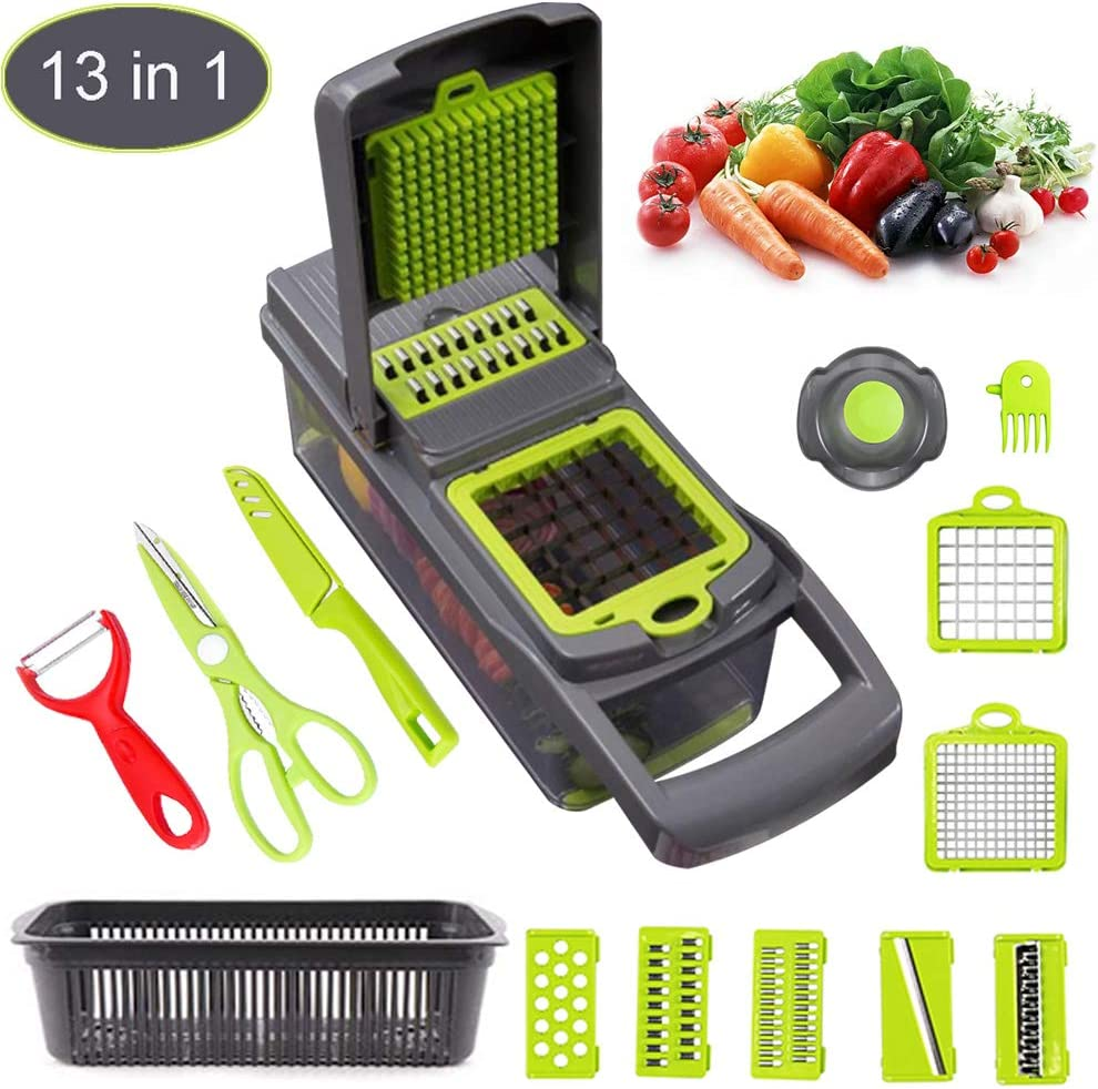 Vegetable Chopper, Mandoline Slicer, Professional Onion Chopper, Multi-Function Replaceable Blade, Band Container, Suitable For Garlic, Cabbage, Cucumbers, Potato, Tomato, Fruit, More Vegetables