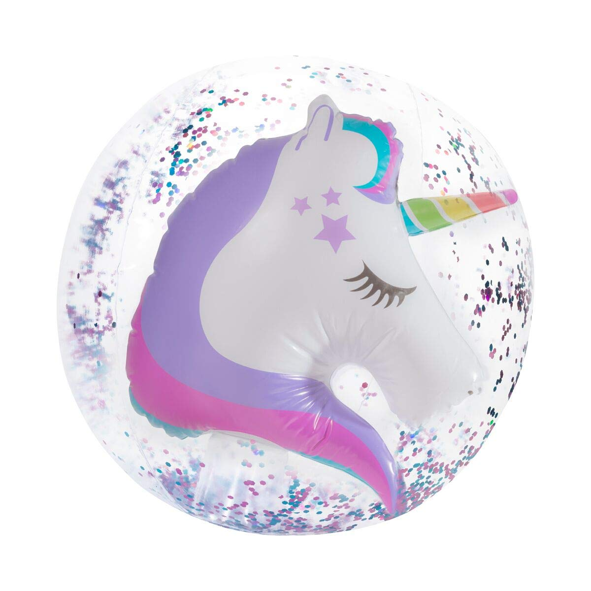Three Cheers for Girls 3D Unicorn Confetti Beach Ball by Three Cheers for Girls
