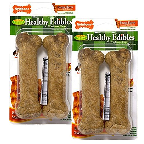 - Nylabone Healthy Edibles Wolf Bacon Flavored Dog treat Bones, 4 Pack