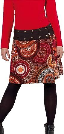 Coline Falda Hippie Reversible roja y Negra, Falda Corta con ...