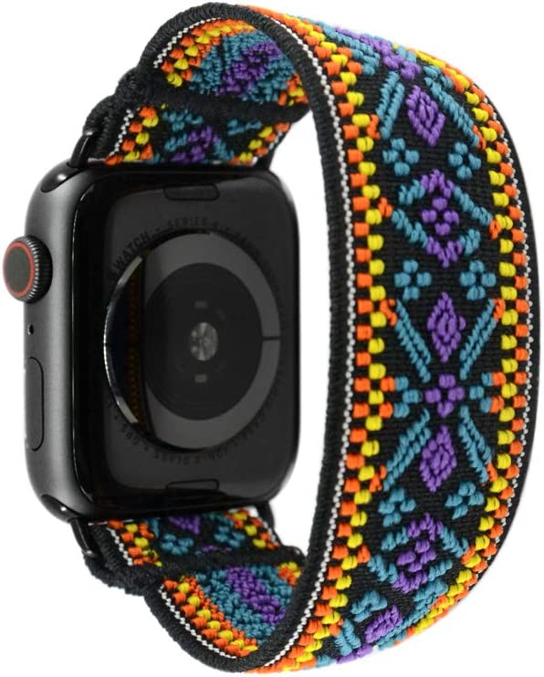 Tefeca Blue Embroidery Ethnic Pattern Elastic Compatible/Replacement Band for Apple Watch 38mm/40mm (Black Adapters, XS fits Wrist Size : 5.5-6.0 inch)