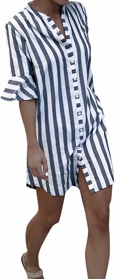 Mujer Blusa Larga Camisa Manga de Cuerno a Rayas Tops: Amazon.es: Ropa y accesorios