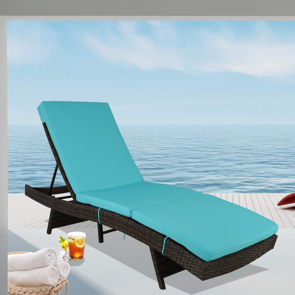 Leaptime Patio Chaise Lounge Rattan Chairs Outdoor Lounger Outdoor Furniture Pool Sunbed w/Cushion 5 Positions Adjustable Backrest Brown Rattan Turquoise Cushion