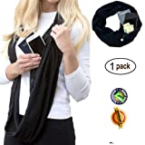 Women scarf with Zipper Secret Pocket, Fashion Wrap Soft Pocket Loop Scarves