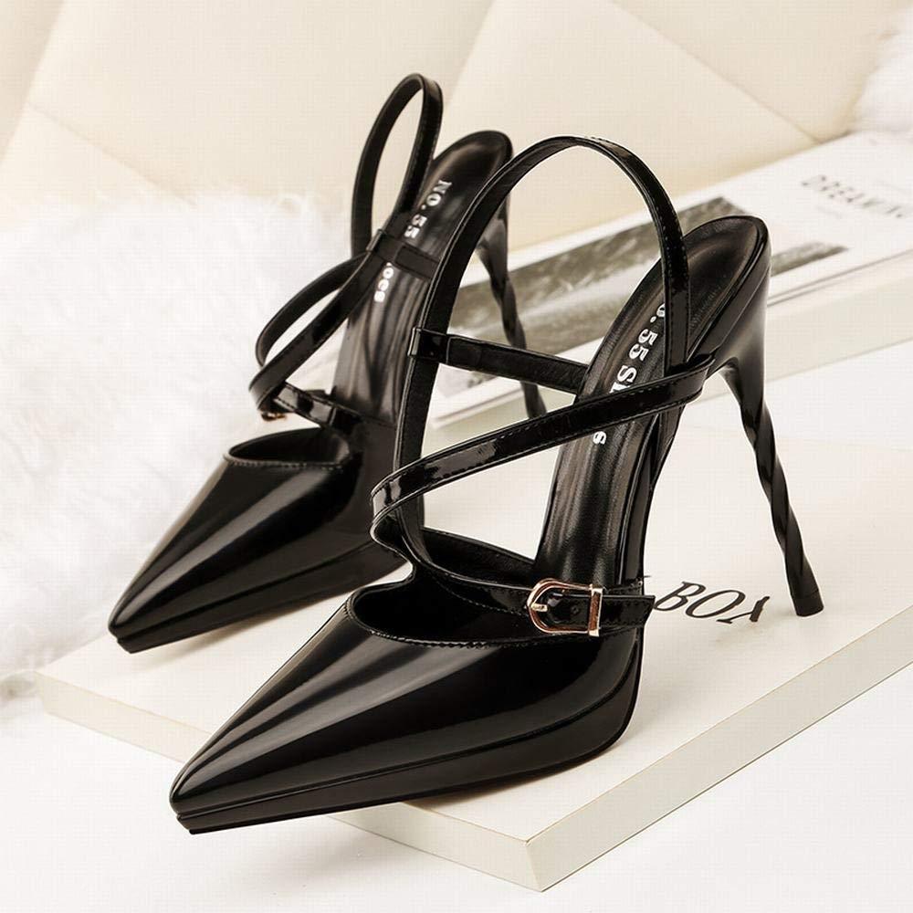 KERVINFENDRIYUN YY4 Damen sexy Spitze High Heels Kreuz mit mit mit Stiletto Sandalen Profi OL Damenschuhe (Farbe   schwarz, Größe   34)  4d86ff