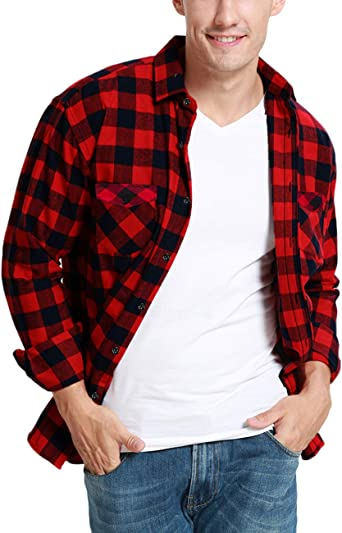JEETOO Camisas de franela clásicas a cuadros de manga larga de ajuste regular