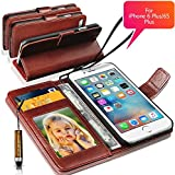 """N+ India Rich Antique Leather Stand Wallet Flip Book Pouch Soft Phone Bag With Mini Touch Stylus Pen For Apple Iphone 6 Plus 6S Plus 5.5"""" Inch, Brown"""