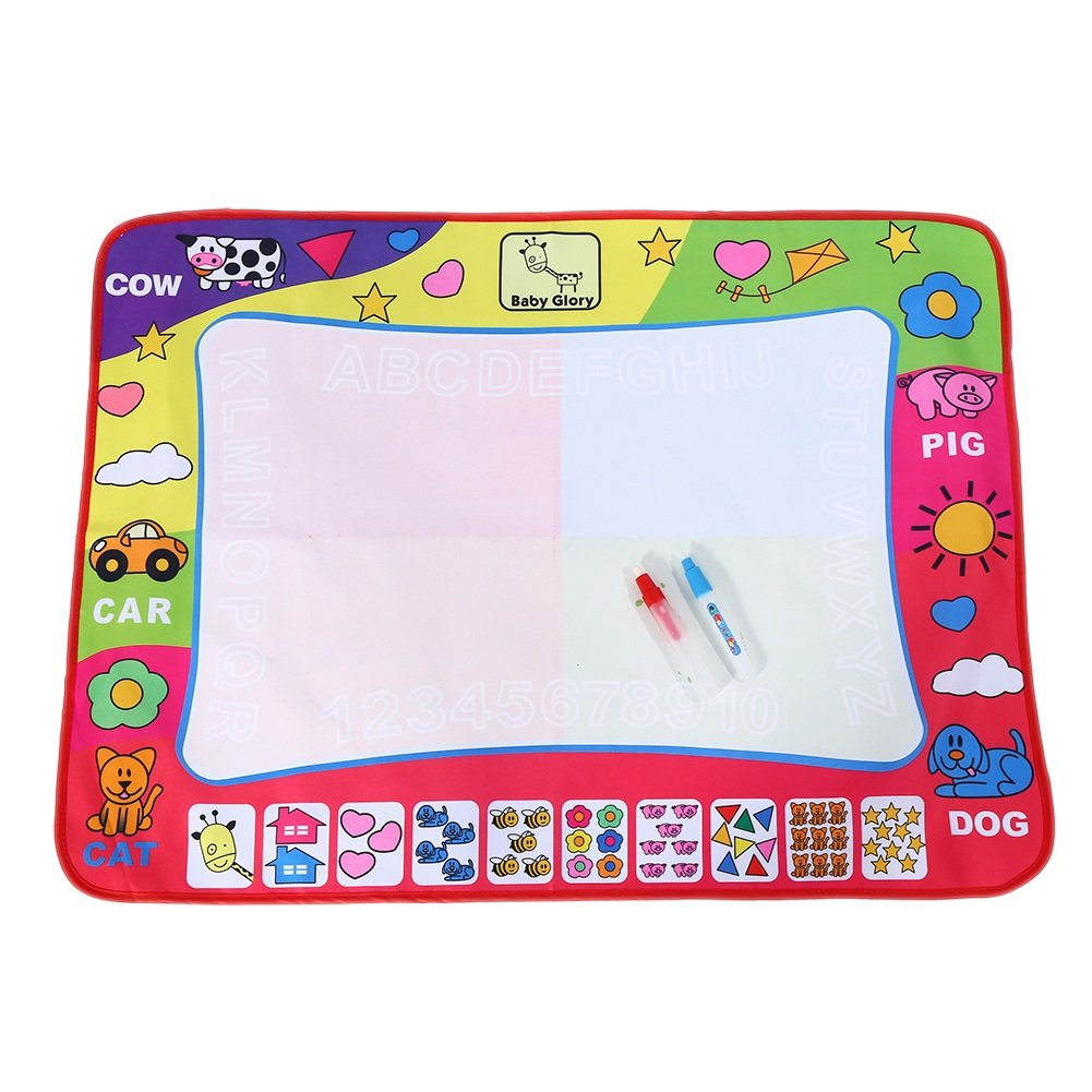 Water Drawing Mat Painting Writing Board Toy Doodle Board with 2 Magic Pens Kid Doodling and Learning Tool 80*60cm Yosoo