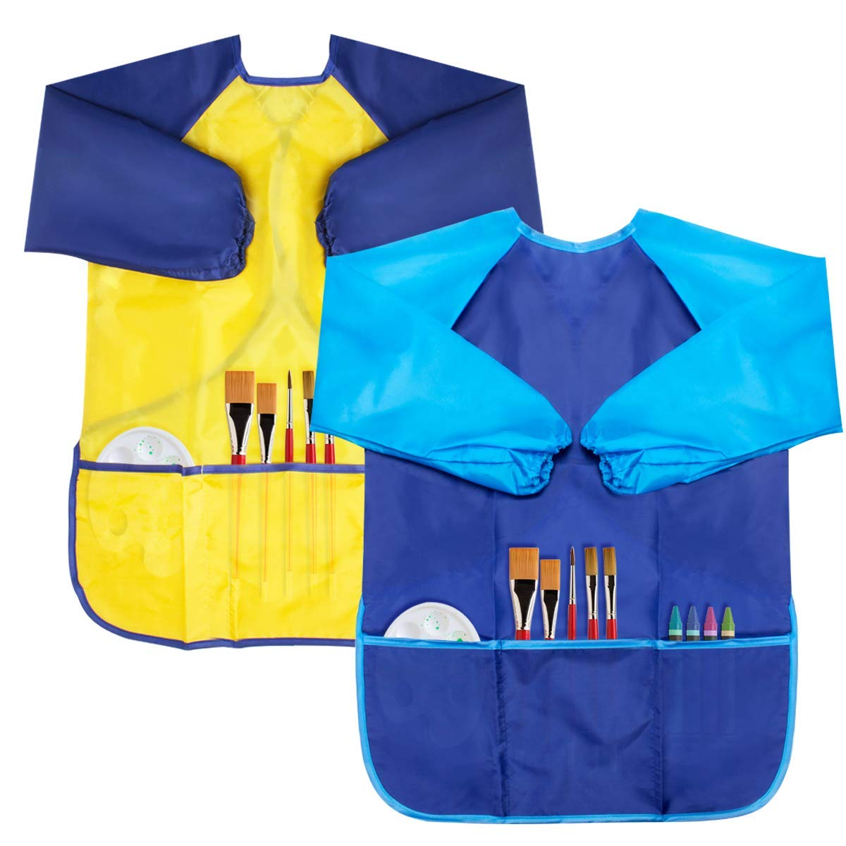 BAHABY Kids Apron 2 Pack Toddler Art Smock Toddler Smock for Kids Smock Children Waterproof Painting Aprons Artist Smock Long Sleeve with Pockets for Toddler Paint Set Toddler Smocks for Painting B&Y