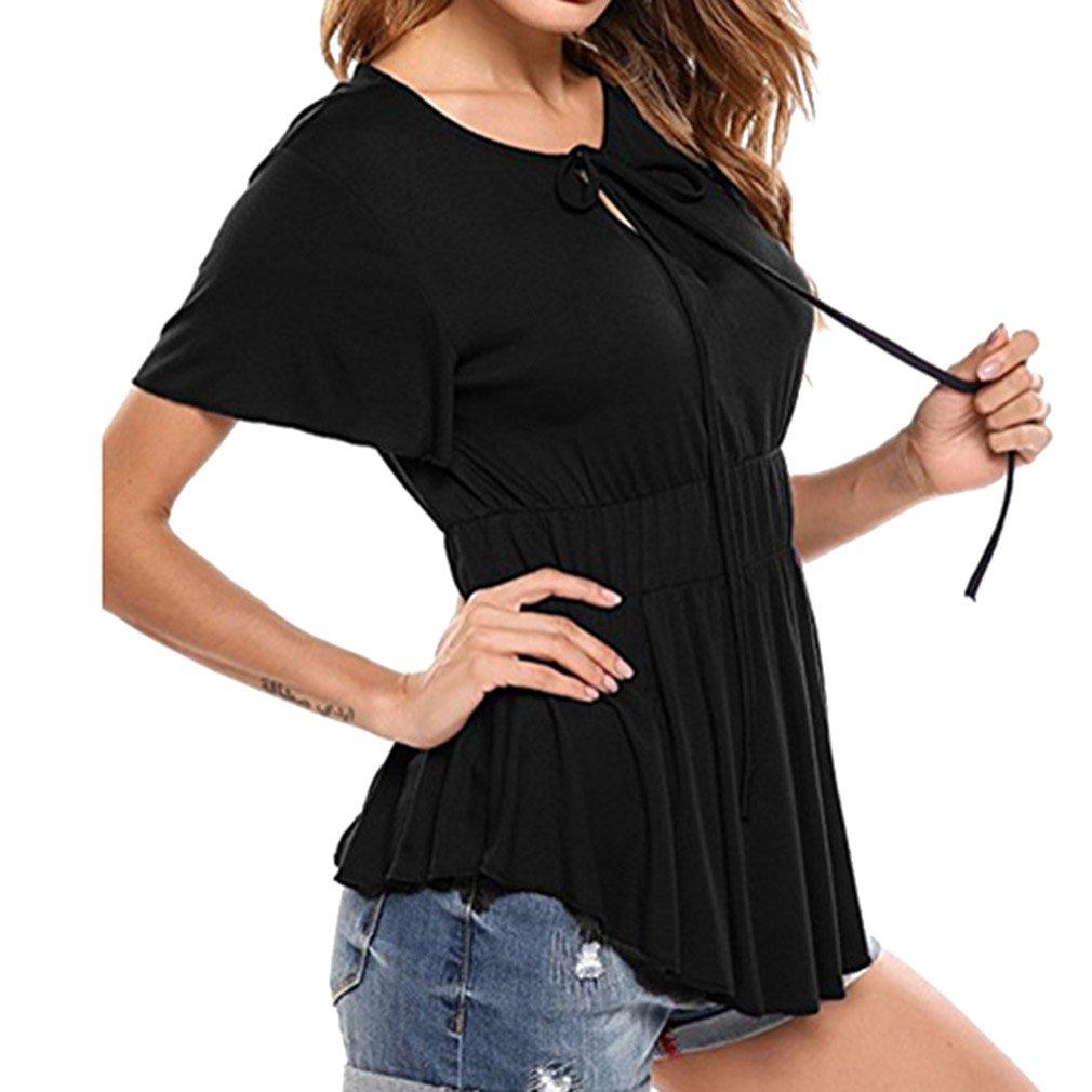 Shirt Donna Maglietta Maniche Corte Bello Solido Colore Camicetta V Collare Camicetta Elegante Casual Sera Camicetta Top Nero Bordeaux Blu Grandi Dimensioni Camicetta